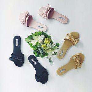 Shoes - 🆕 Kara Gold Satin Bow Slides Mules Sandals Flats